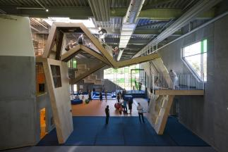 Photo of Aarhus Gymnastics & Motor Skills Hall by C.F. Møller Architects. Photo credit: Julian Weyer.